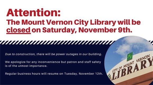 Library Closed Saturday, November 9