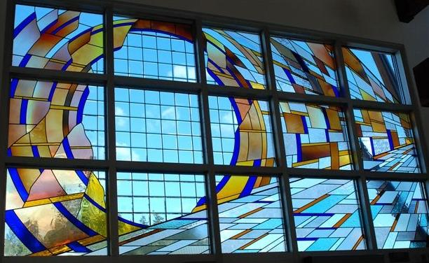 Stained glass window at Skagit Station